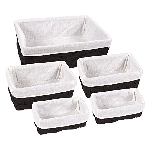 5 Piece Storage Basket Set – PVC Decorative Nesting Baskets for Home, Living Room, Bedroom, Storage Use, Black, Assorted Sizes (White Wicker Easter Basket)
