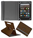 Acm Designer Rotating Leather Flip Case for Kindle All New Fire Hd 8 Cover Stand Brown