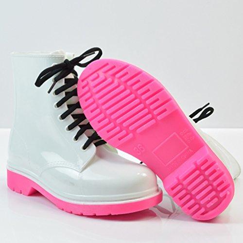 LvRao Mujeres Boots Impermeable de Lluvia Nieve Botas de Jardín Botines Corto con Cordones de Zapatos Blanco Rosa
