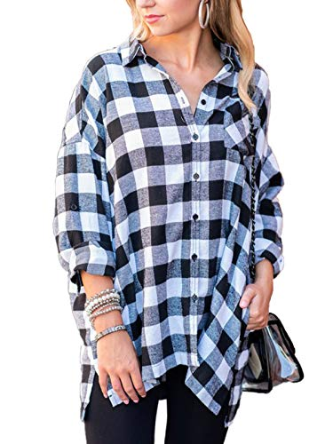 MISSLOOK Women's Plaid Button Down Shirts Roll-up Sleeve Blouses Tunics Loose Fit Tops with Pocket - Black ()