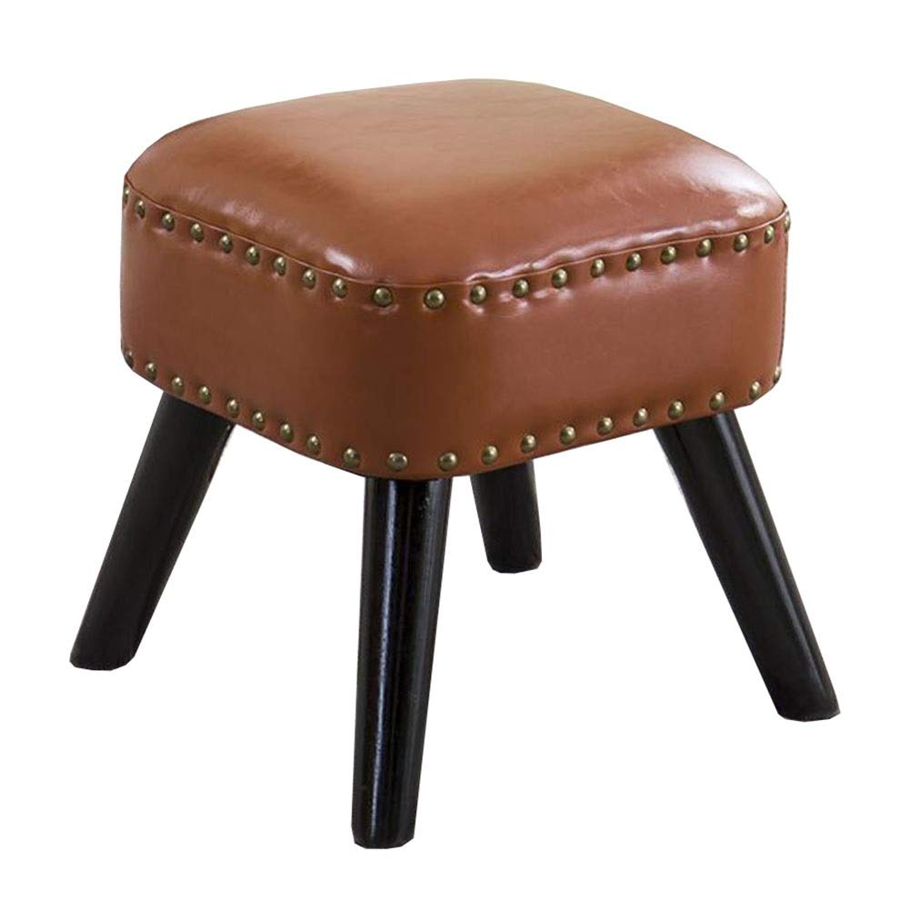 Brown 1 30×30×35cm Dall Footstool PU Seat shoes Bench Sofa Stool Wood Legs Square Small Stool Multifunctional, 8 colors (color   bluee, Size   36×36×42cm)