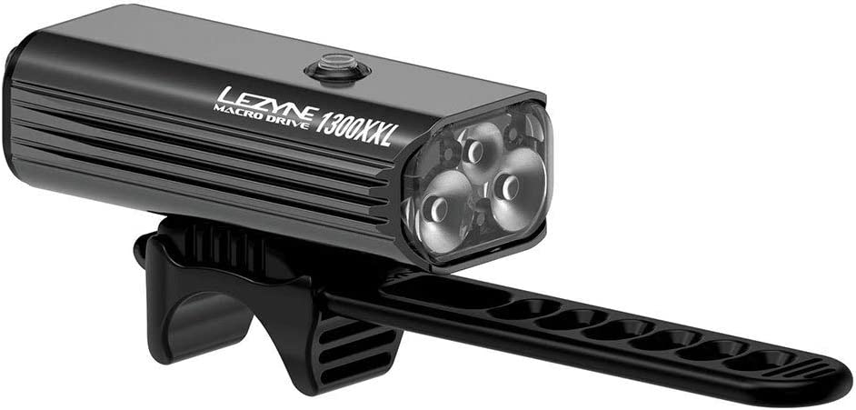 LEZYNE Macro Drive 1300XXL Bicycle Headlight, 1300 Lumens, 148 Hour Runtime, Tri-Focus Optics, Front Bike Light