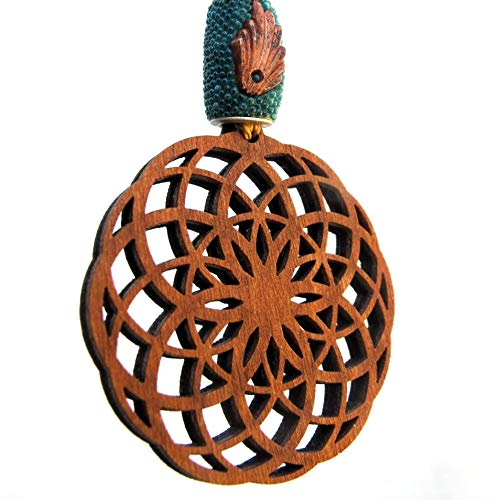 (Mandala Macrame Wooden Pendant Necklace Crop Circles, 15-28 inches, Sacred Geometry Jewelry)