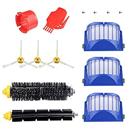 Accessory for Irobot Roomba 600 610 620 650 Series Vacuum Cleaner Replacement Part Kit – Includes 3 Pack Filter, Side Brush, and 1 Pack Bristle Brush and Flexible Beater Brush, 1 Pack Cleaning Tool