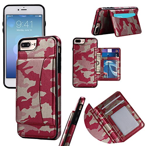 Camouflage Leather Wallet Case for iPhone 6S Plus,iPhone 6 Plus,Ostop with Card Holder Cash Pocket Kickstand Function Magnetic Flip Back Cover-Camo Red ()