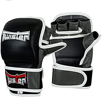 Leather MMA Gloves Quick Wrap UFC Boxing Training Punching Cage Fighting