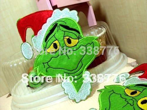 [FairyMotion 10Y116 David Ribbon Whole Sell 150*110Mm Grinch Embroidery Patch Freeshipping Perfect] (Grinch Costume Diy)