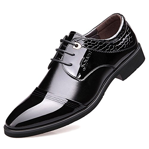 Verni Brogue Uniform Bureau Chaussures Lace Vintage Cuir Hommes Casual ups Black Classique Pointu Derby Business En Bout Oxford Chaussures 1xYZH0