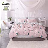 FenDie Pink Girls Duvet Cover Set Twin Kids Bed Cover Sets No Comforter, Zipper Closure, Reversible Striped Pattern