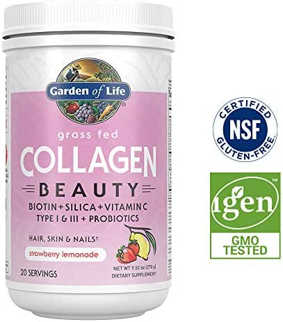 Garden of Life Grass Fed Collagen Beauty Powder for Hair Skin & Nails - Strawberry Lemonade, 20 Servings - 12g Type I & III Peptides, 11g Collagen Protein, Biotin, Vitamin C, Probiotics, Keto & Paleo