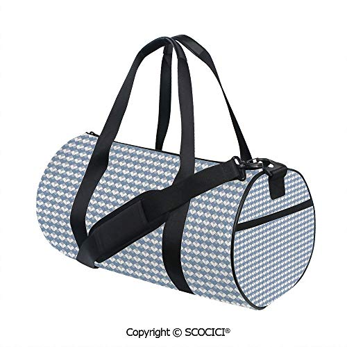 (Crossbody Bags for Women Men,Diamond Line Pattern with Vertical Lines and Squares Modern SymmetricInner Dark Grid,(17.6 x 9 x 9 in) Blue Slate Blue White)