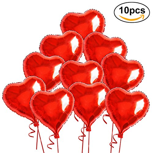 WINOMO Red Heart Foil Helium Balloons with Ropes for Wedding Decoration - 10pcs (Red Heart Balloons)