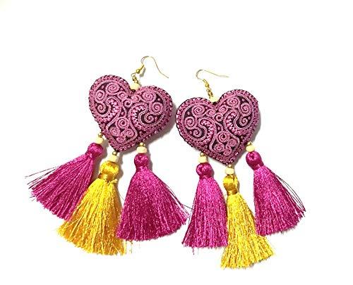 - Earrings by WP Colorful Heart Tassel Handmade Earrings For Girl Women Gifts