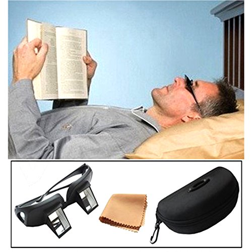 Andux Periscope Glasses Easy Lie Down on the Bed for Reading Book Bed Prism Spectacles with Case and Cloth Lr/03