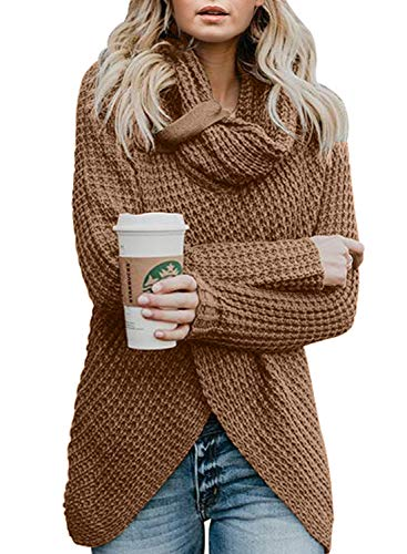 Asvivid Womens Cozy Turtleneck Cowl Neck Long Sleeve Sweater Winter Warm Button Asymmetrical Wrap Sweater Pullover Tops M Brown