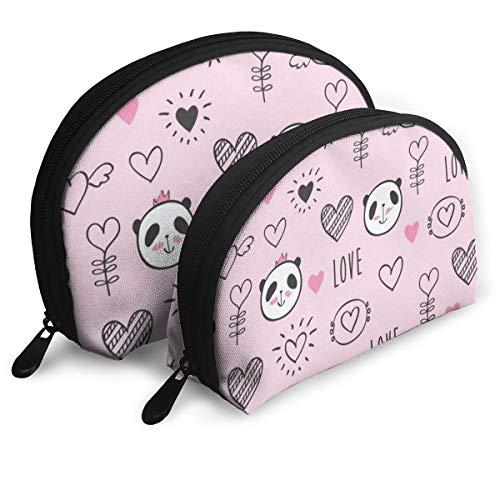 Makeup Bag Love Panda Pink Handy Shell Travel Bags Organizer For Women ()