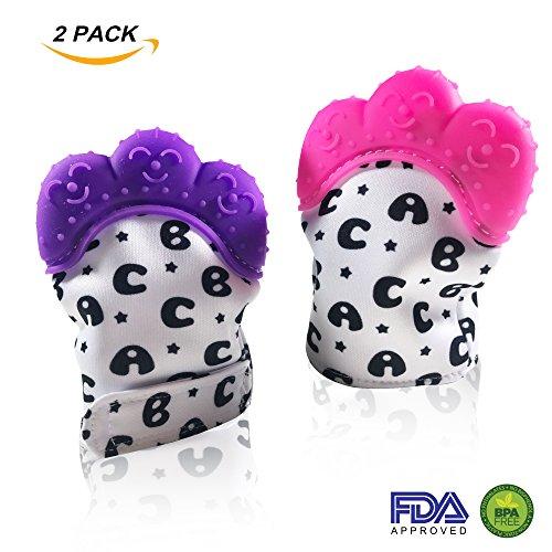 (Teething Mitten for Babies - 2 Pack Pink and Purple Teether Mitt - Self-Soothing Teething Gloves BPA Free Food Grade)