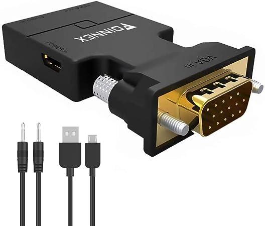 Oferta amazon: FOINNEX VGA a HDMI Adaptador con Audio 1080P 60Hz (Conversor de PC Antigua a TV/Monitor con HDMI) Conversor VGA Macho a HDMI Hembra para Ordenadores, Portátiles, Proyectores, Etc