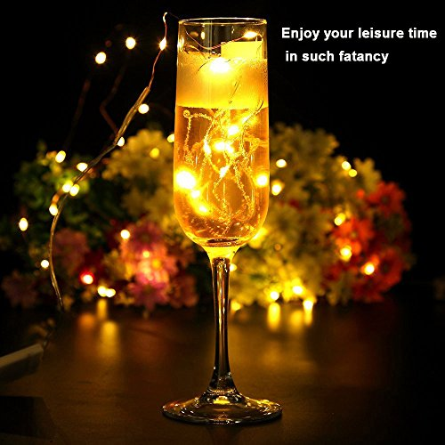 Ouniman 6 Pcs Starry String Lights, LEDs Fairy Lights Silver Coated Copper Wire, Battery Powered for Christmas Tree DIY Wedding Bedroom Easter Decor - Yellow by Ouniman (Image #3)