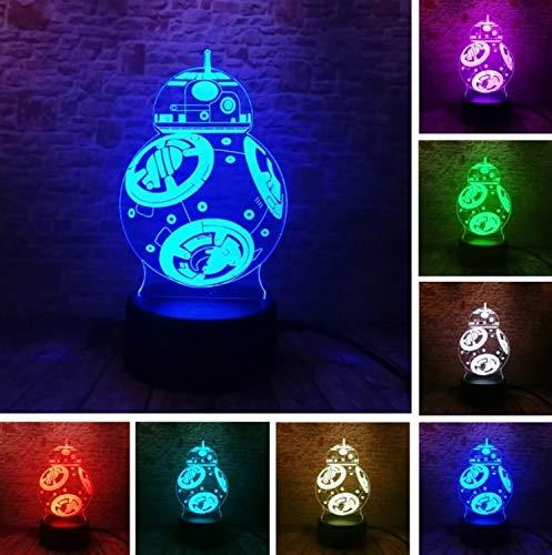 Klsoo Luz de noche Star Wars Ball Robot 3D Led Luz De La ...