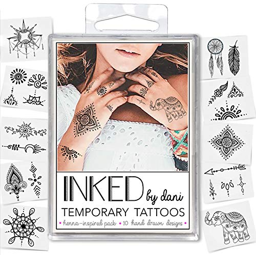 INKED by Dani Temporary Tattoo Designs - Henna Inspired Pack. Realistic, Hand-Drawn Body Art from INKED by Dani