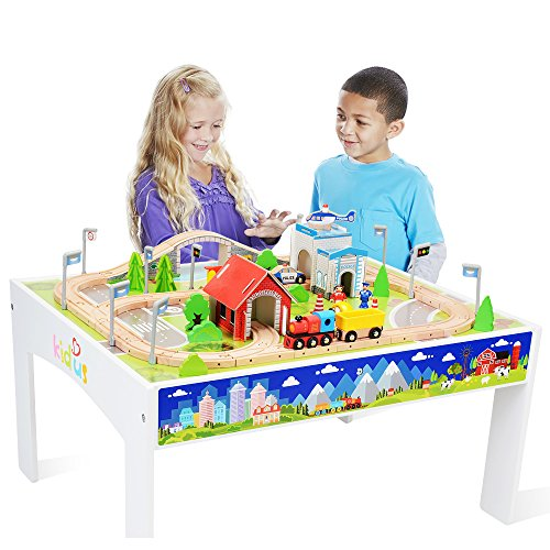 ZONXIE Wooden Train Track Set with Table for Kids Toddlers Creative Play Train Set and Table (80...