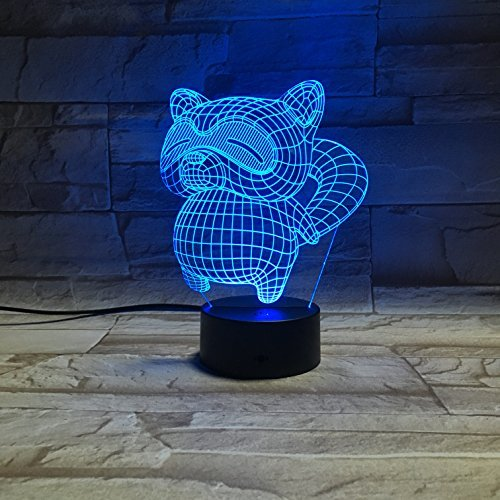 Christmas Gift Raccoon Night Lights for Kids 3D Illusion Lamp Animal Light Led Desk Unique Gifts for Adult Home Decor Office Bedroom Wedding Party Decorations Nursery Lighting 7 Color