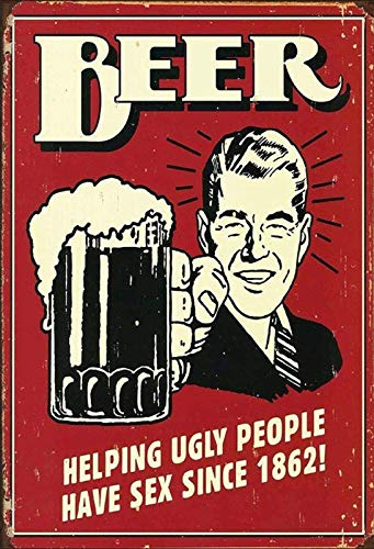 Red Beer Helping Ugly People Tin Sign Kitchen and Dining Room House Decor Food Drink Bar 20 cm x 30 cm