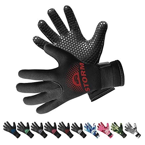 Scuba Dive Gloves - BPS Neoprene 3mm Thermal Gloves with Anti-Slip Palm - Water Gloves for Wetsuit, Kayaking, Rafting, Surf, and Other Water Activities - for Men and Women (Black/Red Brown, Medium)
