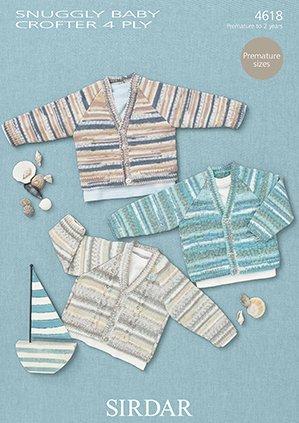 Sirdar Snuggly Baby Crofter 4ply 50g - 4618 Cardigans Knitting Pattern by Sirdar by Sirdar