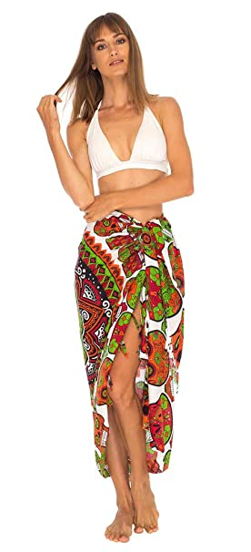 5f4bc399f SHU-SHI Womens Beach Cover Up Sarong Swimsuit Cover Ups Day of The Dead  Green