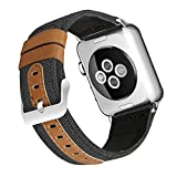 iHillon For Apple Watch Bands 42mm for Women Men, Black Fashionable Canvas Fabric with Genuine Leather Bands for Apple Watch Series 3, Series 2 and Series 1.