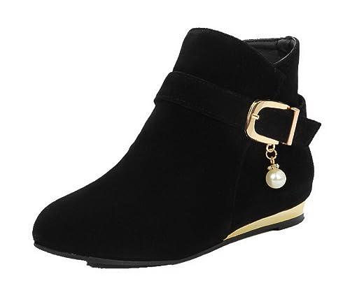 d53e474f197 AgeeMi Shoes Mujer Mini Tacón Caña Baja Suede Cremallera Puntera Cerrada  Botas,EuX145 Negro 36