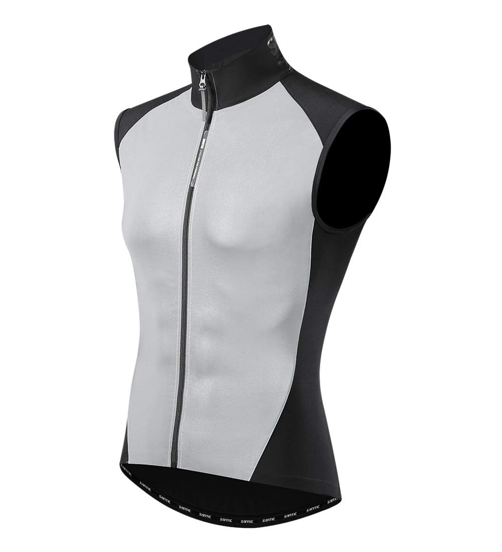 Santic Pro Cycling Vest Running Reflective Windbreaker by POWERICHSantic