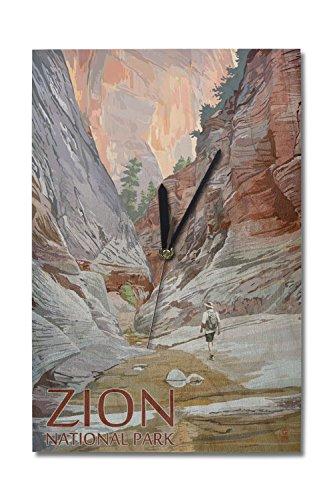 Lantern Press Zion National Park, Utah - Slot Canyon (10x15 Wood Wall Clock, Decor Ready to Hang) (Best Slot Canyon Hikes Utah)