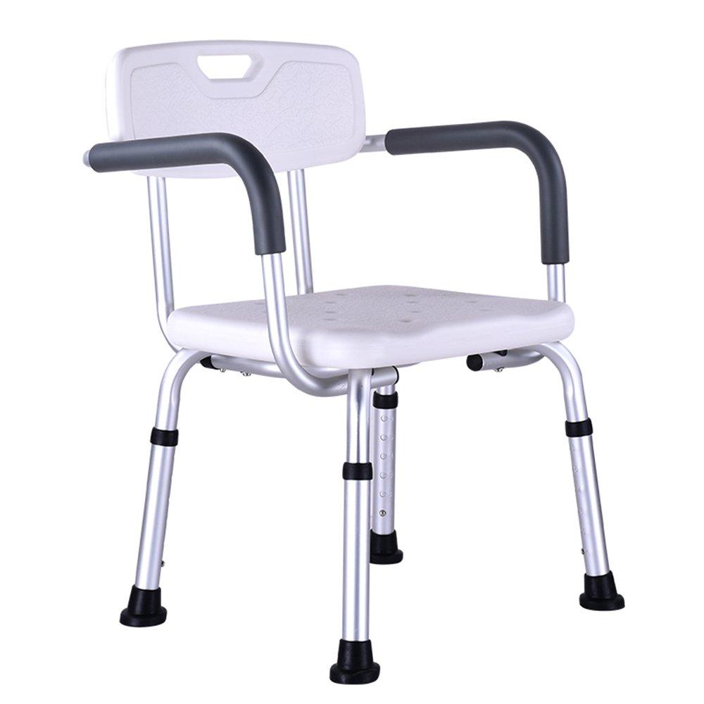 シュウクラブ@ シャワー椅子/高齢者妊娠中のシャワー椅子/アルミニウム合金バス椅子/ノンスリップバススツール/背もたれアームレスト/6スピード調節可能シャワーチェア/腐食重量150KG/42 * 40 *(67-80)cm B07DW6TYVM