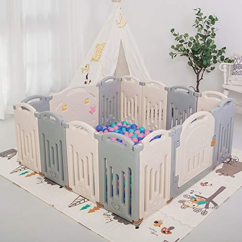 UANLAUO Laufgitter Laufstall Baby Absperrgitter 12+2 Paneele Krabbelgitter Schutzgitter für Kinder aus Kunststoff mit Tür und Spielzeugboard