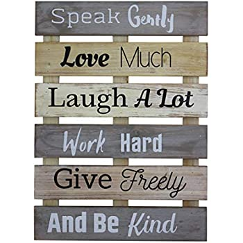 Vintage Rustic Farmhouse Wall Home Decor Inspirational Motivational Sign for Kitchen, Living Room, Dining Room, Bedroom or Bathroom - Speak Gently Love Much Barnwood Color Decorative Wall Plaque