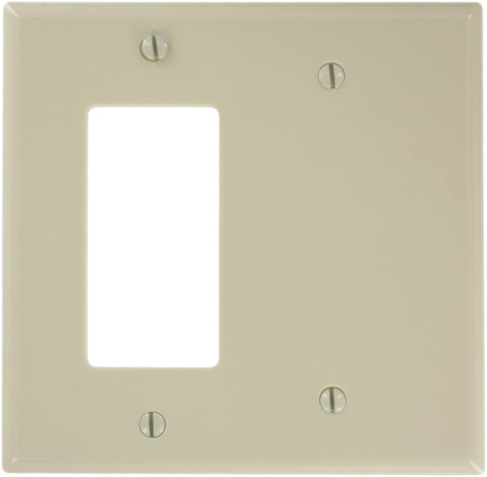 Leviton 80608-I 2-Gang 1-Blank 1-Decora/GFCI Device Combination Wallplate, Midway Size, Thermoset, Ivory