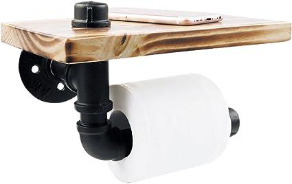 Porta carta igienica Portarotolo di carta igienica in legno per WC bagno retro da parete porta rotolo da bagno Vintage Deko
