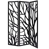 MyGift Wood Tree Silhouette 3 Panel Screen, Decorative Room Divider, Black