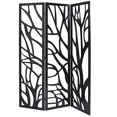 Three Wood Panel Screen (MyGift Wood Tree Silhouette 3 Panel Screen, Decorative Room Divider, Black)