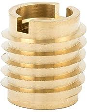 """E-Z Lok Threaded Insert, Brass, Knife Thread, 1/4""""-20 Internal Threads, 0.500"""" Length (Pack of 25)"""