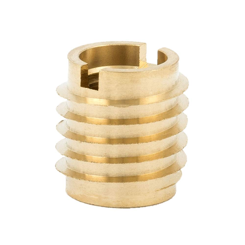 "E-Z Lok 400-428 Threaded Insert, Brass, Knife Thread, 1/4""-28 Internal Threads, 0.500"" Length (Pack of 25)"