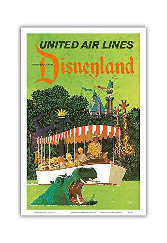 Disneyland California - United Air Lines - Adventureland Jungle Cruise Hippo - Vintage Airline Travel Poster by Stan Galli c.1960s - Master Art Print - 12in x 18in