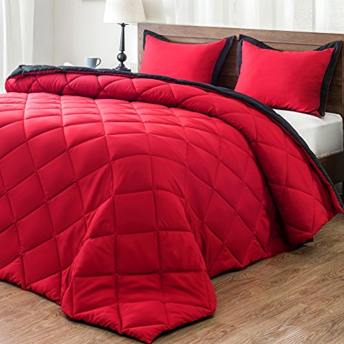 downluxe Lightweight Solid Comforter Set (King) with 2 Pillow Shams - 3-Piece Set - Red and Black - Hypoallergenic Down Alternative Reversible Comforter