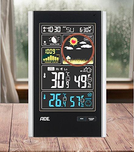 ADE Estación meteorológica digital con radio-reloj-alarma y sensor externo WS 1600. Muestra los valores de temperatura en Display extra grande.