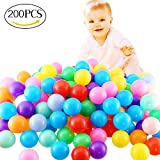 FINGOOO 2.16 Inch Phthalate Free Fun Crush Proof Balls Soft PE Air-Filled Ocean Ball Play Balls Pit Balls for Baby Kids Tunnel/Tent/Pool/Swim Jump House Pack of 200