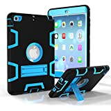 iPad Pro 9.7 Shockproof Case, Rubberized Armor Military Protection Shockproof Shell With Stand For iPad Pro 9.7 & iPad Air 2 - DUAL COLOR (BLACK/BLUE)