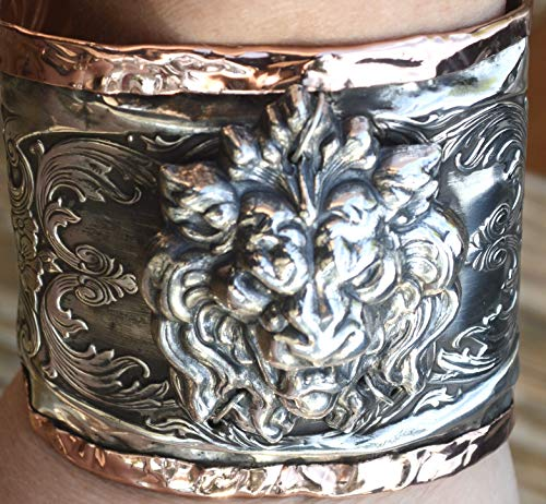 Antique Victorian Sterling Silver 925 Brass Art Nouveau Gothic Goth Cuff Bracelet, Game of Thrones, Medieval Lion Steampunk Statement Distressed